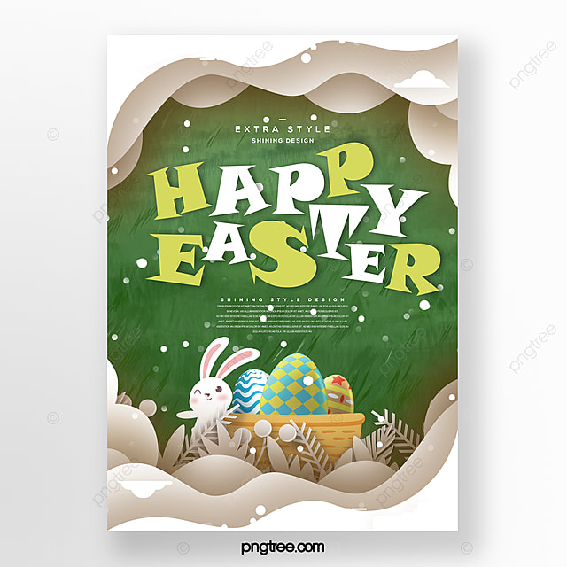 cartoon fashion minimalistic paper cut style easter poster
