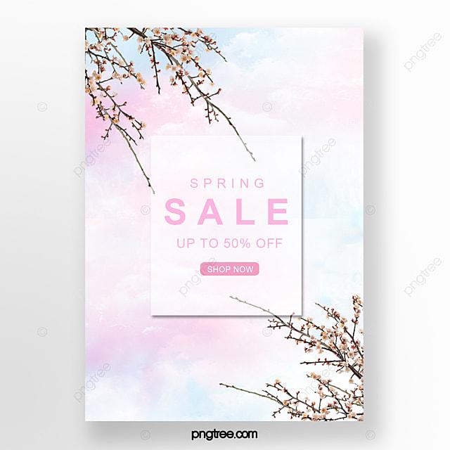 color sky cherry blossom poster