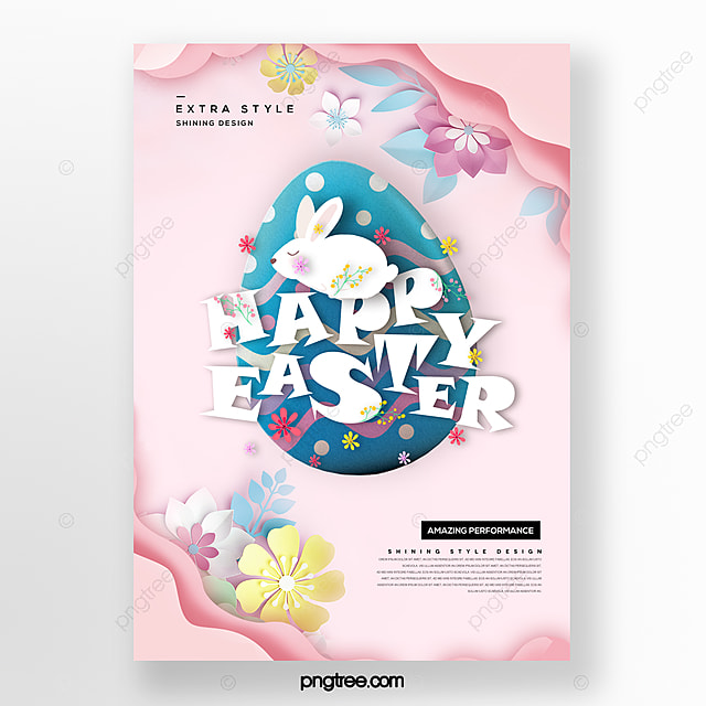 fashion cartoon minimalistic paper cut style easter poster