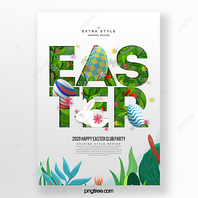 fashion cartoon paper cut style easter festival poster