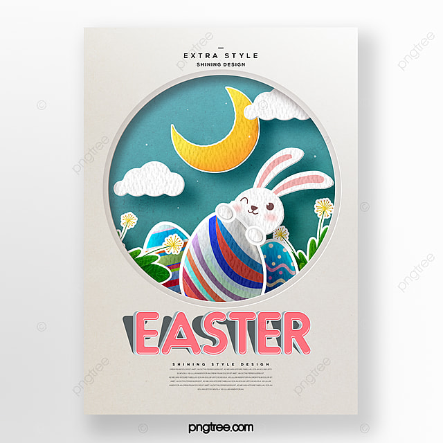 fashion cartoon part time style easter theme holiday poster