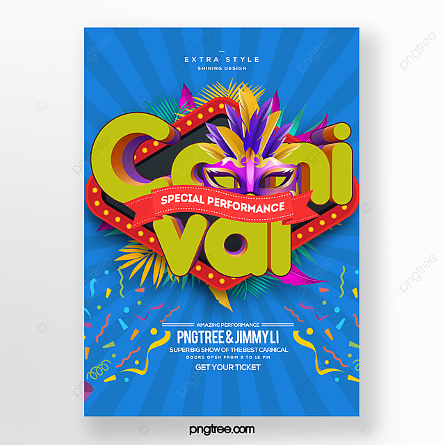 fashion color simple cartoon carnival festival party poster