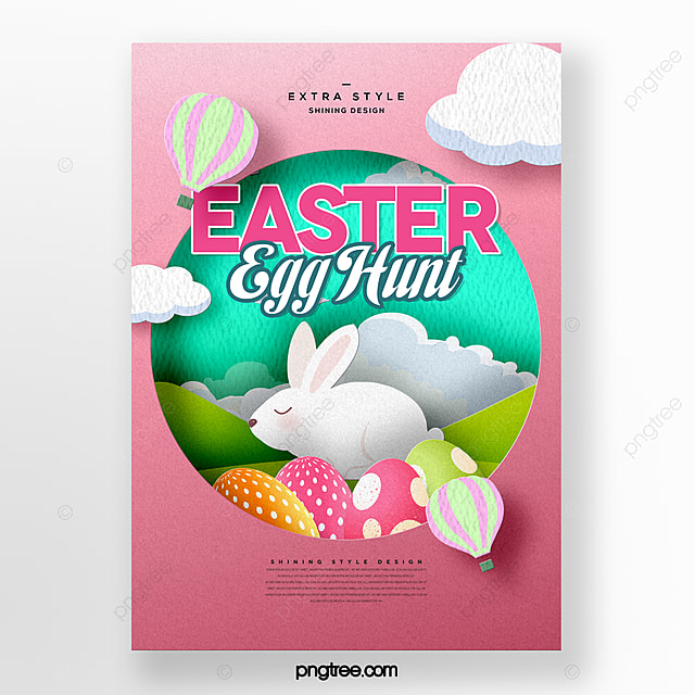 fresh and simple cartoon paper cut style easter festival poster