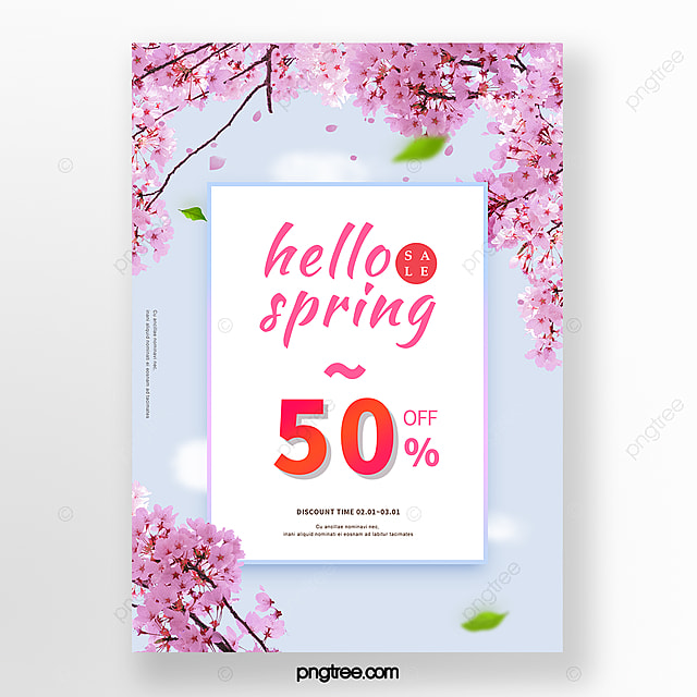fresh blue sky spring cherry blossom promotion poster