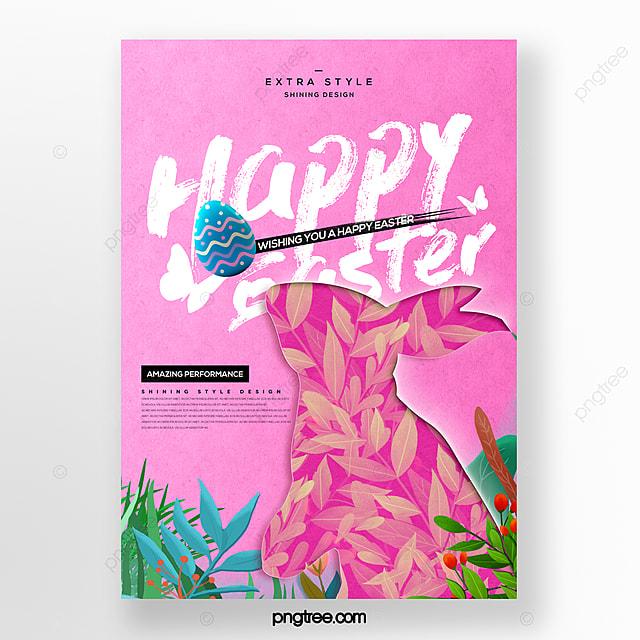 fresh fashion cartoon paper cut easter festival theme poster