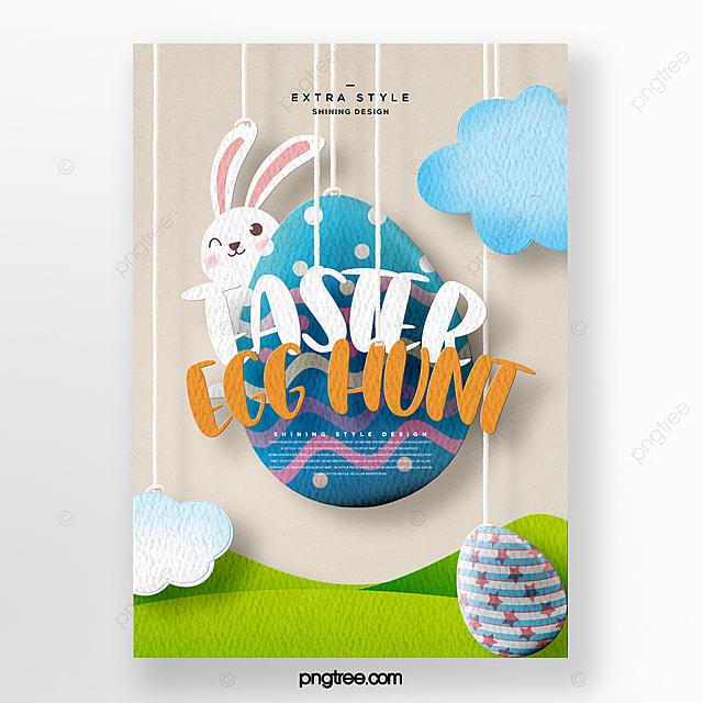 fresh fashion cartoon style paper cut theme easter festival poster