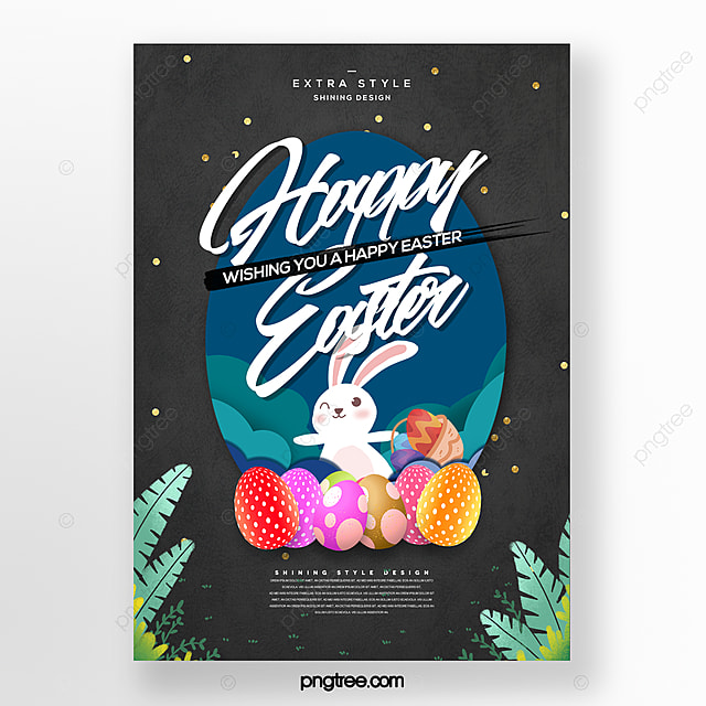 fresh simple fashion cartoon paper cut style easter poster