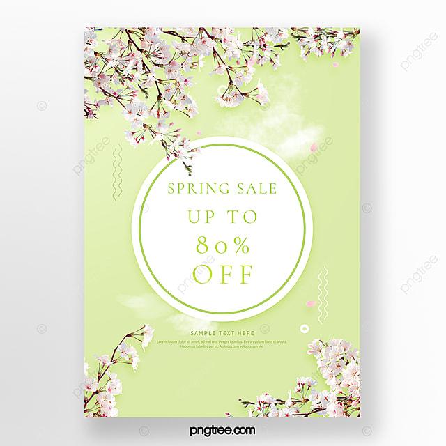 green fresh spring cherry blossom promotion poster