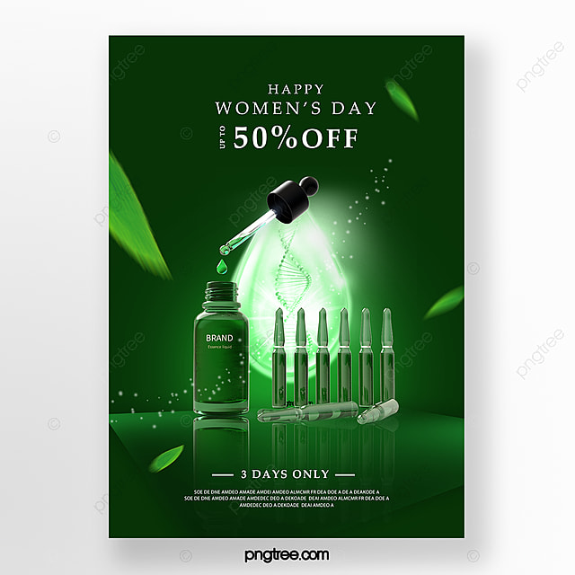 green women s day skin care promotion poster