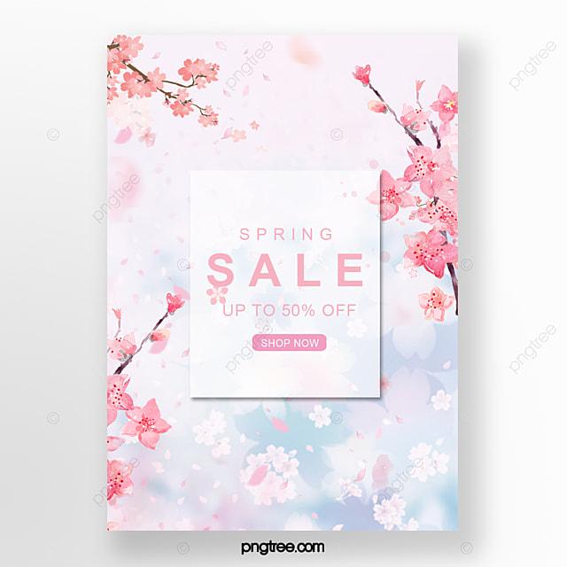 hand drawn spring cherry blossom poster