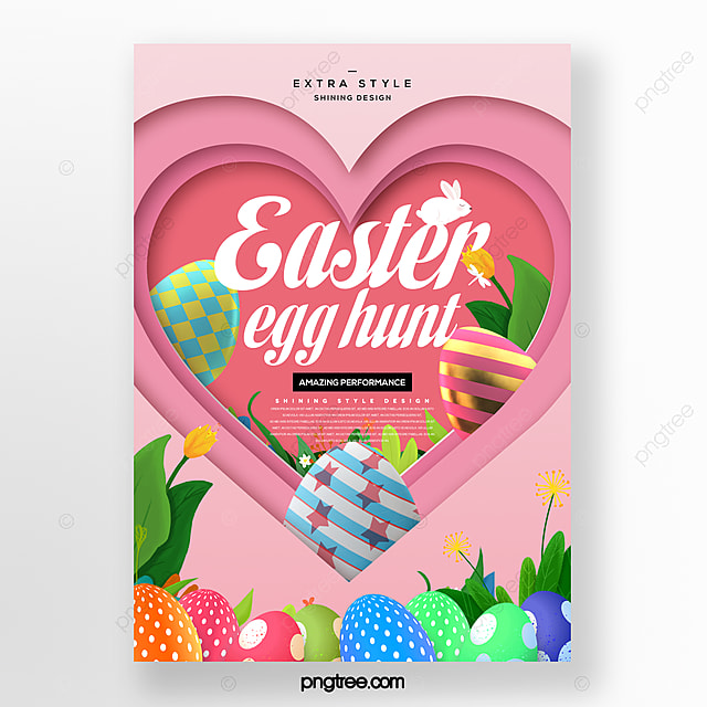 heart shaped cartoon paper cut style easter holiday poster
