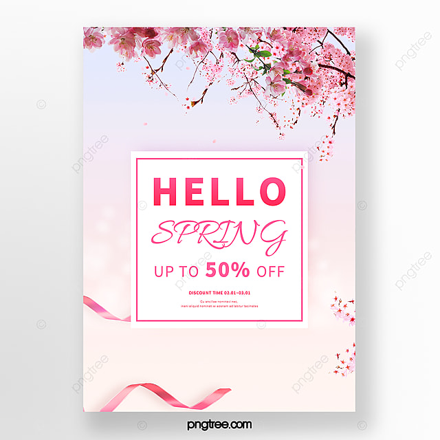 pink cherry blossom branch spring poster