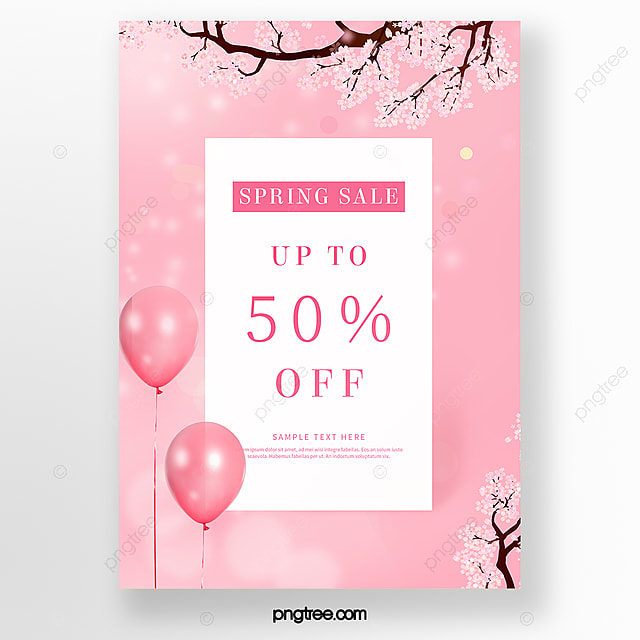 pink cherry blossom spring promotion poster