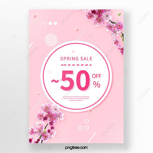 pink geometric decorative spring cherry blossom poster
