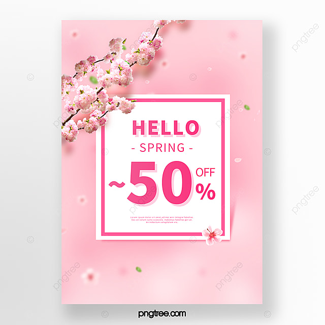 pink romantic cherry blossom spring promotion poster