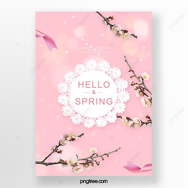 pink romantic spring flowering branch poster