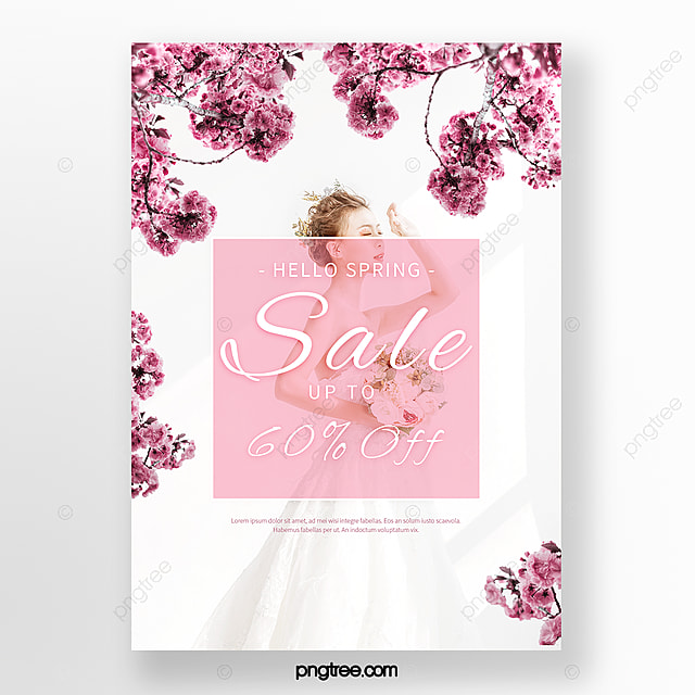 romantic pink white spring cherry blossom promotion poster