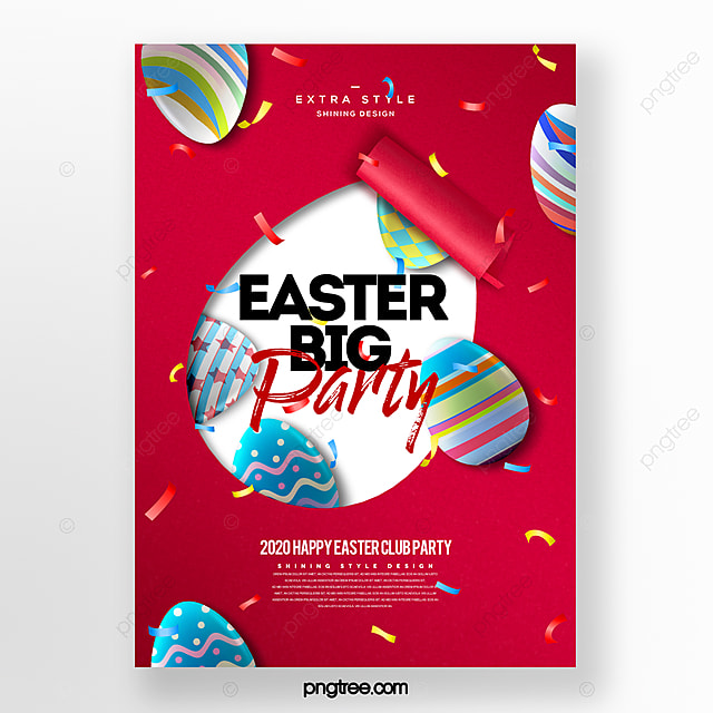 simple fashion paper cut style easter egg poster