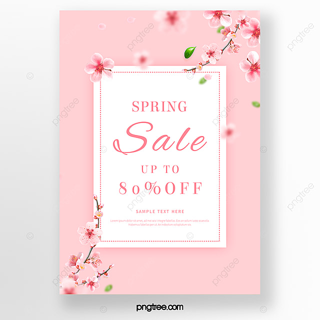 simple pink spring cherry blossom poster