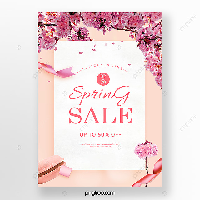 simple pink spring cherry blossom promotion poster