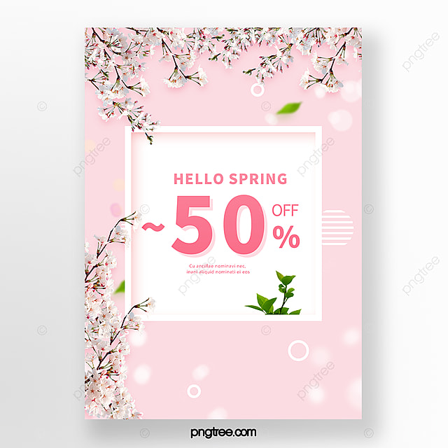 simple pink white spring flower branch border promotion poster