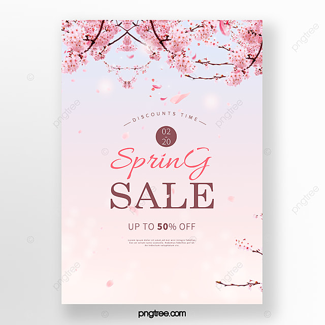 simple romantic cherry blossom spring promotion poster