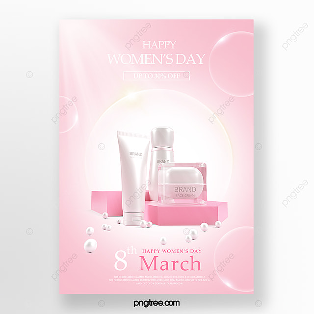 pink women s day skin care promotion poster