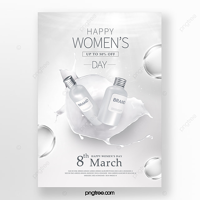 silver women s day skin care promotion poster
