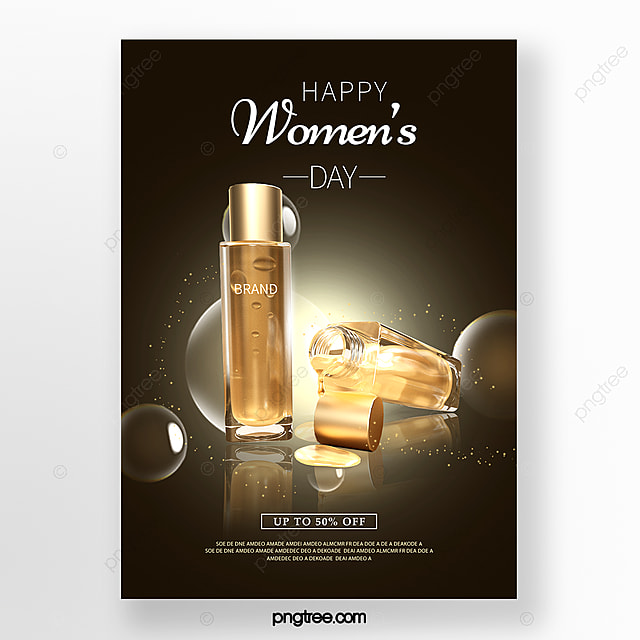 womens day texture skin care products promotion poster