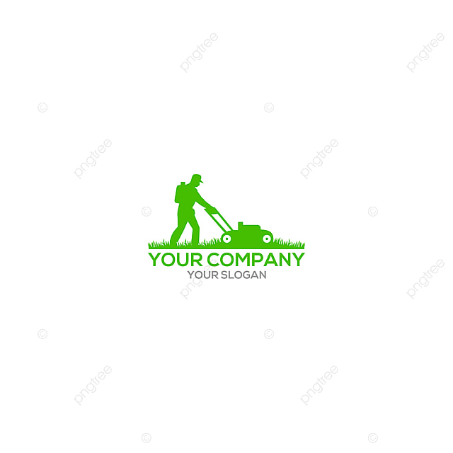 gardener mowing lawn mower logo design vector template for