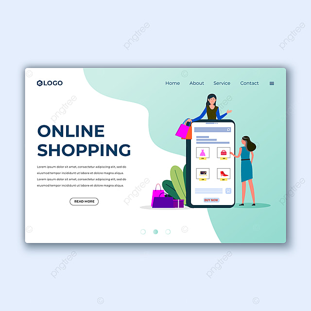Online Shopping Landing Page Template With Customers Buying And Making Order E Commerce Advertising Web Banner With People Shopping On The Internet Digital Store Concept Ui Illustration In Flat Design Template For
