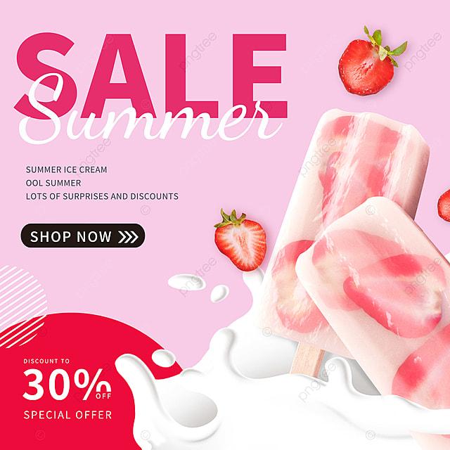 Merah Muda Strawberry Es Krim Spanduk Promosi Mode Sederhana Templat Untuk Unduh Gratis Di Pngtree