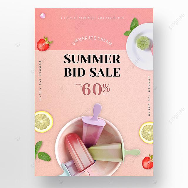 Merah Muda Segar Musim Panas Poster Promosi Es Krim Es Dingin Retro Templat Untuk Unduh Gratis Di Pngtree