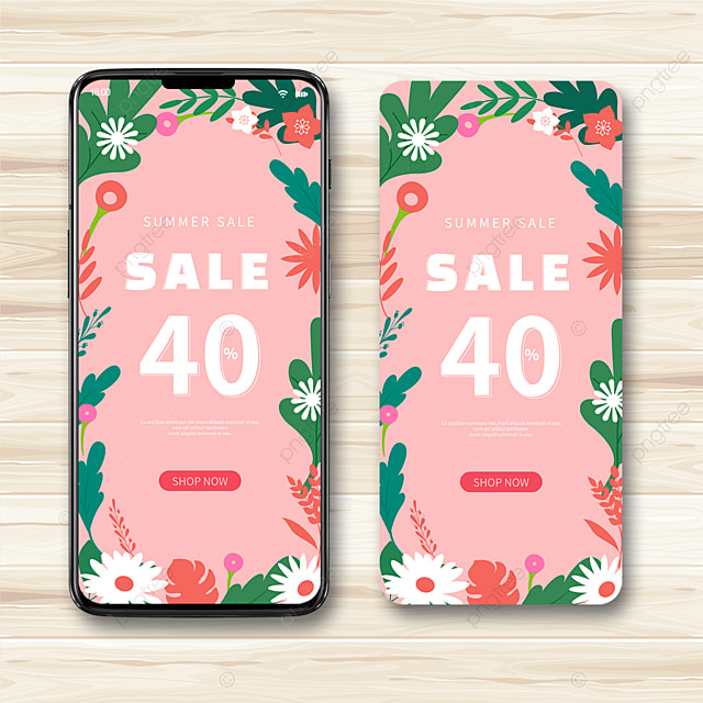 Pink Vector Flower Border Mobile Phone Summer Promotion Template
