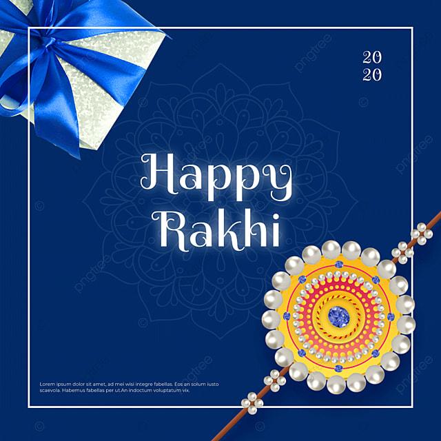 Modele De Joyeux Raksha Bandhan De Festival De Diamant De Bijoux De Perle Bleue Modele De Telechargement Gratuit Sur Pngtree