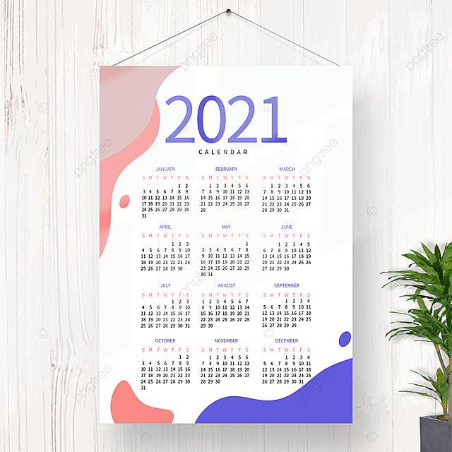 Design Del Calendario 2021 Colorato E Semplice Modello per il