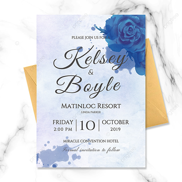 abstract ink art fresh style blue flower watercolor shading happy wedding invitation