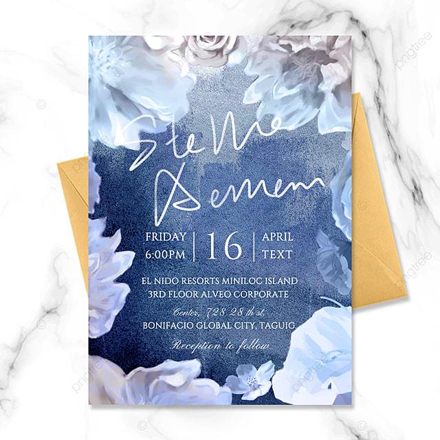 atmospheric high end luxury fashion gradient watercolor beautiful blue flowers wedding invitation