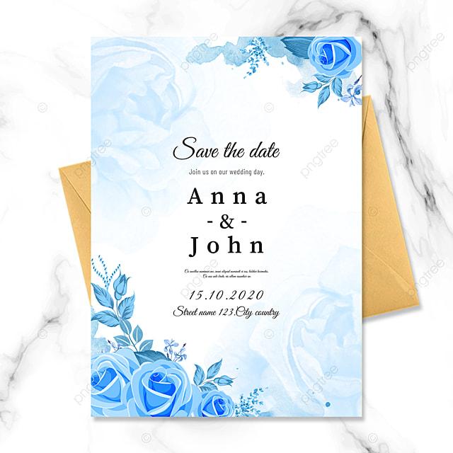 blue border wedding invitation