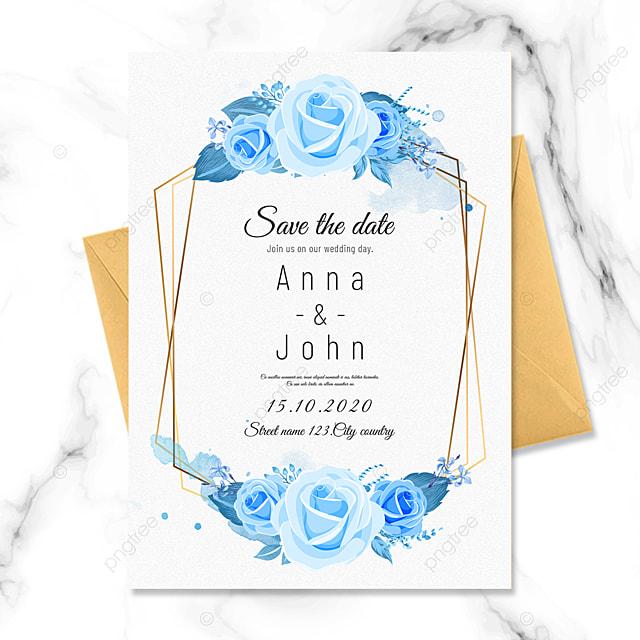 blue floral irregular border wedding invitation