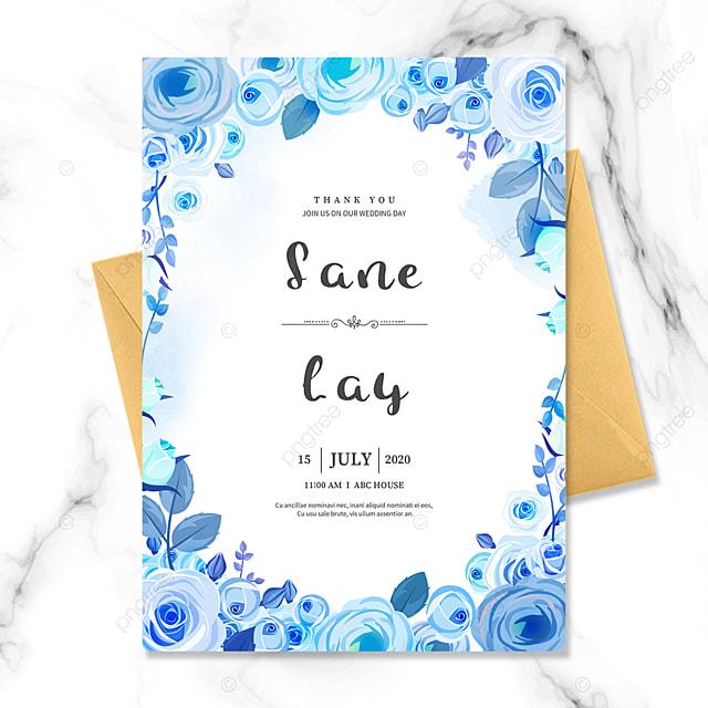 blue flower border wedding invitation
