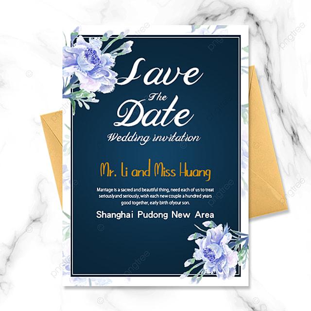 blue flower simple atmosphere blue background wedding invitation