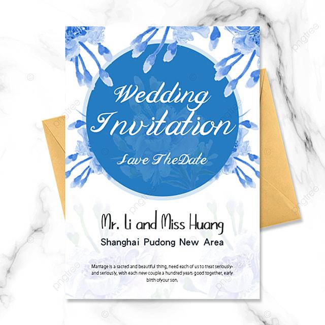 blue flower simple fashion wedding invitation