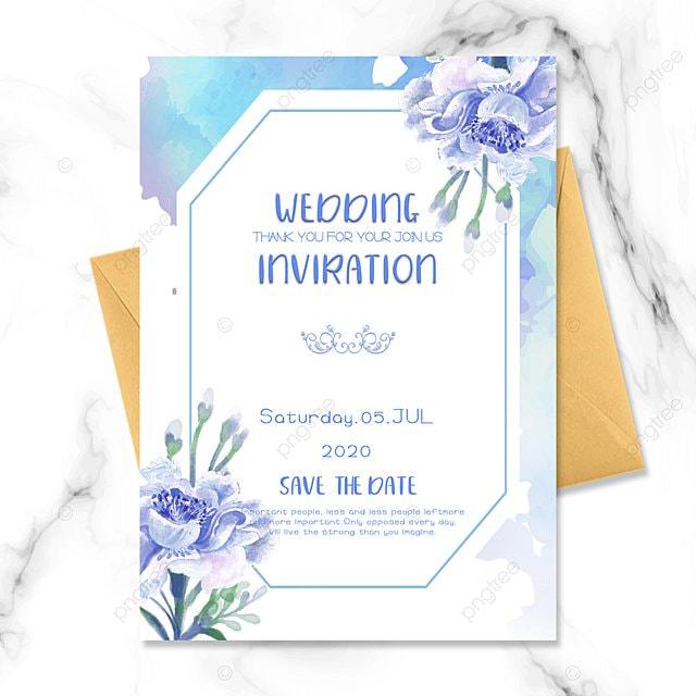 blue flower simple wedding invitation