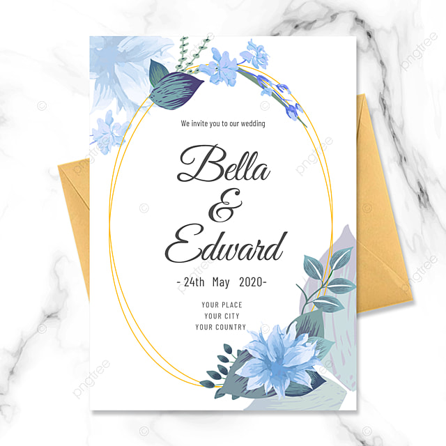 blue flowers happy wedding invitation