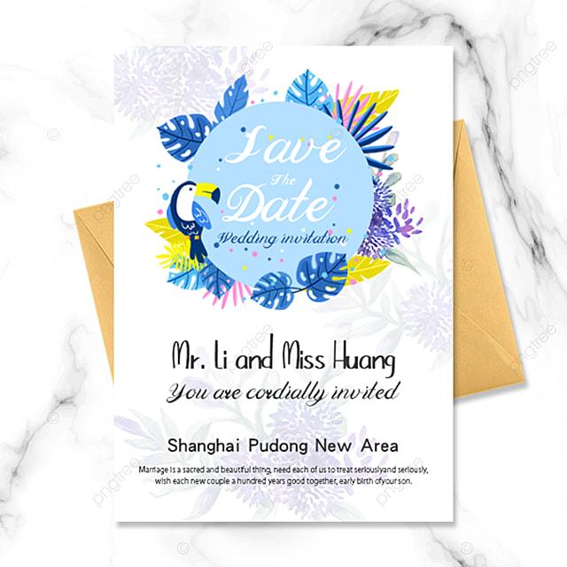 blue flowers simple romantic wedding invitation