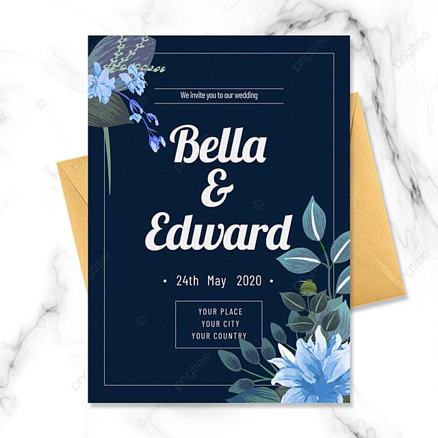 blue flowers simple wedding invitation