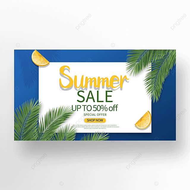 Blue Summer Tropical Plant Promotion Banner Template For Free Download On Pngtree