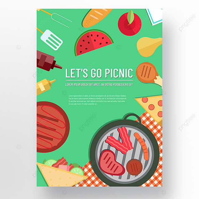 commercial hand drawn green lawn barbecue grill sandwich picnic day poster