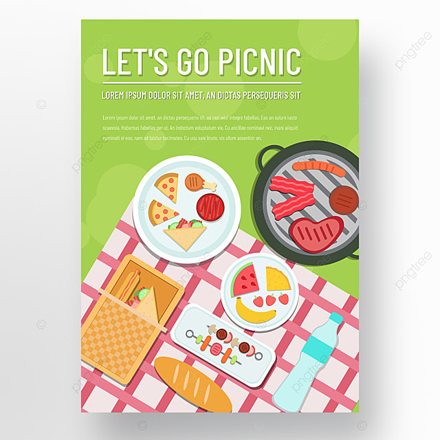 commercial hand drawn green lawn barbecue picnic day poster